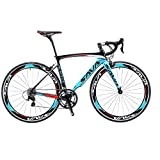 SAVADECK Carbon Road Bike, Warwinds3.0 700C Carbon Fiber Road Bicycle with Shimano SORA 18 Speed Derailleur System and Double V Brake (Blue, 54cm)