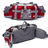 Bp Vision Outdoor Fanny Pack Hiking Camping Fishing Waist bag 2 Water Bottle Holder Lumbar Pack red