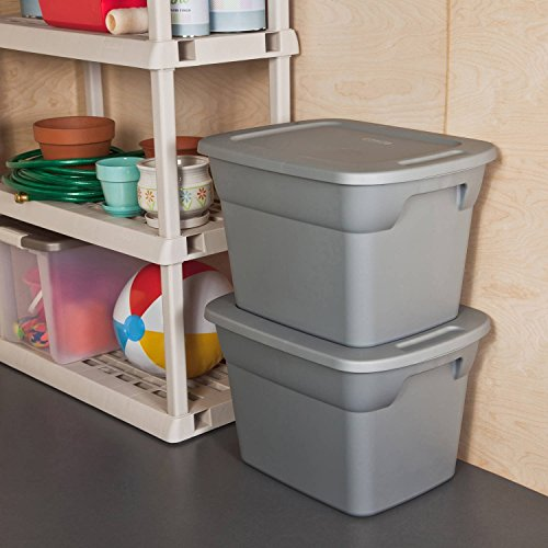 Case of 8, 18 Gallon Durable Construction Molded-in Handles Tote Box- Steel, Gray