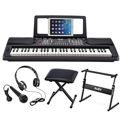 Moukey MEK-200 61 Key Electric Keyboard Portable Beginner Piano Keyboard Kit With Stand, Bench, Headphone, Microphone and Sticker