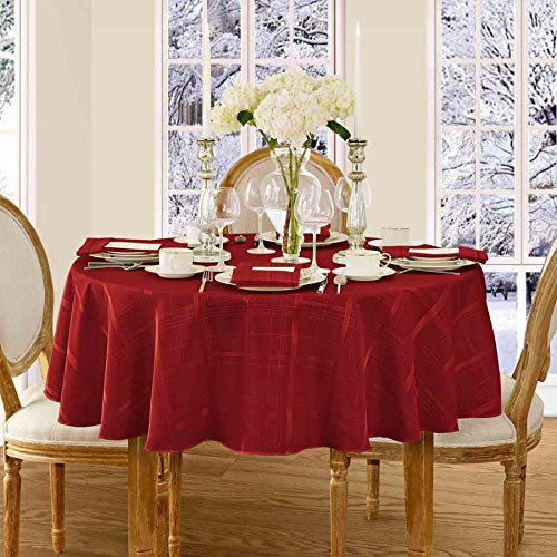 Newbridge Elegance Plaid Christmas Fabric Tablecloth, 100% Polyester, No Iron, Soil Resistant Holiday Tablecloth, 70 Inch Round, Poinsettia Red