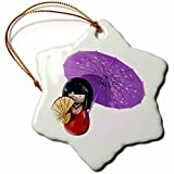 Boehm Graphics Japan - A Japanese Sakura Doll with Umbrella and Fan - 3 inch Snowflake Porcelain Ornament (245605_1)