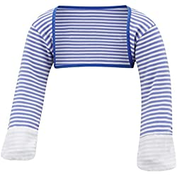 ScratchSleeves | Little Boys' Stay-On Scratch Mitts Stripes | Blue and Cream | 4 to 5 Years