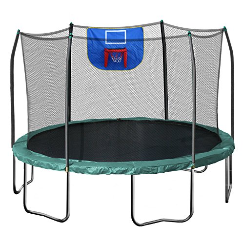 Skywalker Trampolines Jump N' Dunk Trampoline with Safety Enclosure and Basketball Hoop, Green, 12-Feet