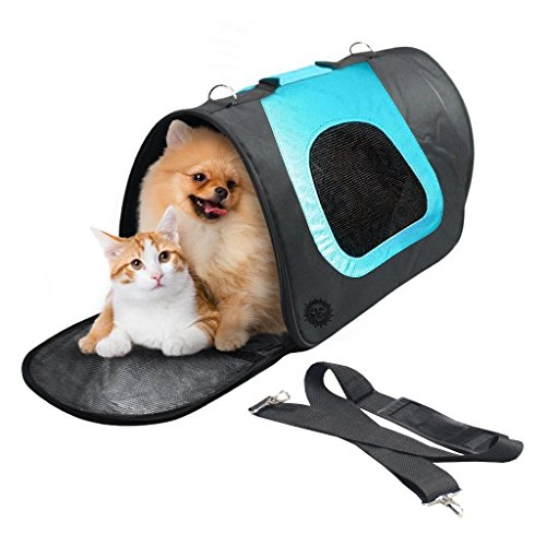Breathable Dog Bag Carrier - For Vet Visit, Car Travel & Road Trips - Stylish, Soft-sided, comfortable, hands-free tote bag - Unzips to fold flat for easy storage, cleaning - Fits Bulldog, Pug, Beagle 1