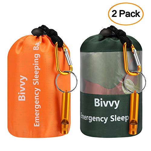 Fansteck Emergency Sleeping Bag - Lightweight Survival Sleeping Bag for Outdoor Adventure, Camping, Hiking - Emergency Bivy Sack with Drawstring Bag, Whistle, Carabiner - 2pack(78 ×47/82×36 in)