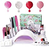 Gel Nail Polish Starter Kit with UV LED 24W Nail lamp Dryer Deluxe Manicure Tools Gel Polish Base and Top Coat by AZUREBEAUTY