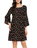Product review for Zeagoo Floral Ruffle Flare Bell Sleeve Casual Short Dress Print Women Summer 3/4 Sleeve Adorable Shift Dress