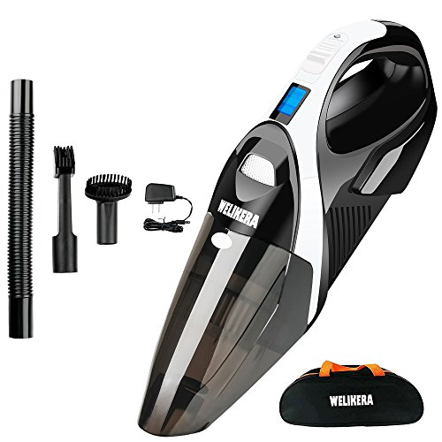 Cordless Vacuum, WELIKERA 12V 100W Hand-held Cordless Vacuum Cleaner, Powerful Portable Pet Hair Vacuum, Cordless Rechargeable Vacuum for Home and Car Cleaning, with A Carrying Bag, Black