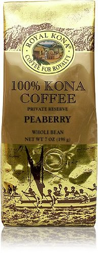 Royal Kona Peaberry 100% Kona Coffee 7oz (6 bags, Whole Bean)