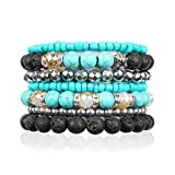 RIAH FASHION Bohemian Lava Stone Essential Oil Diffuser Multi Strand Layer Bracelet - Healing Aroma Therapy Beaded Natural Volcano Rock Stretch Bangles Lotus, Hematite ([L-XL] Layer Mix - Turquoise)