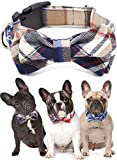 Freezx Dog Collar with Bow Tie - Adjustable 100% Hand Made Cotton Design - Cute Fashion Dog Collars with Bow Ties for Small Medium Large Dogs - Red,Brown,Blue,Green,Yellow Plaid Stripe Pattern