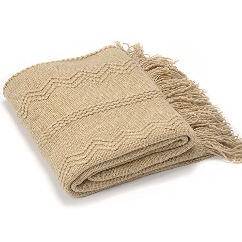 Battilo Intricate Woven Throw Blanket with Raised Patterns and Tasseled End, Tan Color