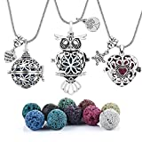 3 PCS Antique Silver Aromatherapy Essential Oil Diffuser Locket Necklace Pendant, Round/Heart Cage Locket Bulk with 10 Lava Stone Rock Beads Balls Set for Necklace Jewelry