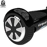 Skque Self Balancing Scooter (MAX 220 lbs), I1.1 UL2272 6.5' Smart Two Wheel Self Balancing Electric Scooter with LED Lights, Black