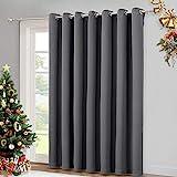 NICETOWN Patio Sliding Door Curtain - Wide Blackout Curtains, Keep Warm Draperies, Grey Sliding Glass Door Drapes (Gray, 100' W x 84' L)