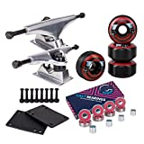 Cal 7 5.0 Inch Skateboard Trucks, 52mm Wheels, Plus Bearings Combo Set (Silver Trucks, Black Tophat Skeleton Wheels)