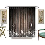 luvoluxhome Shower Curtains 3D Digital Printing Antique Old Planks American Style Western Rustic Wooden and White Daisies, Grass and Butterflies Custom Made Shower Curtain W72 x L84