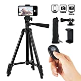 Hitch Phone Tripod,Gopro Tripod 42 Inch 106cm Aluminum Lightweight Smartphone Tripod for Iphone/Samsung/Huawei Cellphone, Camera and Gopro with Bluetooth Remote Control, Carrying Bag and Gopro Mount