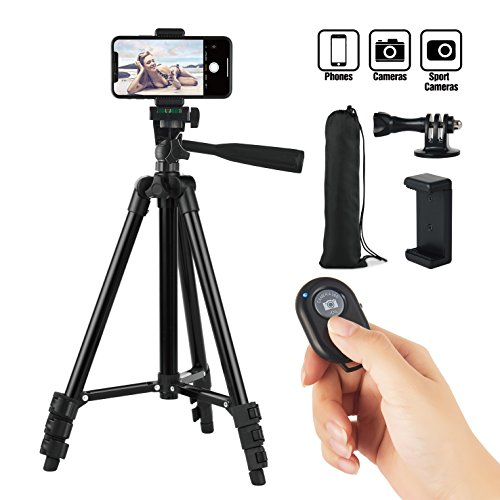"Hitch Phone Tripod 42"" Inch 106cm Aluminum Lightweight iPhone Tripod Stand for Camera Gopro Samsung Smartphone With Bluetooth Remote Control Phone Holder Carrying Bag and Gopro Mount (Black)"