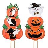 Unomor Metal Halloween Outdoor Decorations Pumpkin &Ghost Stake Signs 2 Sets -Cute Halloween Lawn Yard Decorations, Trick or Treat Halloween Prop