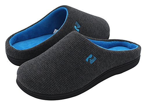 RockDove Men's Original Two-Tone Memory Foam Slipper (9-10 D(M) US, Dark Gray/Blue)