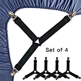 Roomir 4PCS Bed Sheet Fasteners, Adjustable Triangular Bed Sheet Holder Straps for Corners, with Sheet Clips Keeping Sheets in Place, Elastic Grippers Suspenders for Mattress, Sofa, Cushion etc.