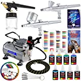 3 Airbrush Professional Master Airbrush Multi-Purpose Airbrushing System Kit with 6 Primary Opaque Colors Acrylic Paint Artist Set - G22, G25, E91 Gravity & Siphon Feed Airbrushes and Air Compressor