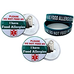 "Bracelets and Buttons I HAVE FOOD ALLERGIES. PLEASE DO NOT FEED ME Allergy Bracelet for Kids 2pcs Toddler Size/Button Bulldog Clip-back 2.25"" 2 pcs Teal"