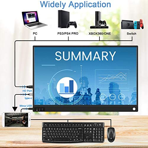 ZSCMALLS Portable Monitor 15.6 Inch Full HD Computer Display USB C Dual Monitor with Speaker, Gaming Monitor for PS3 PS4 Xbox Nintendo Raspberry pi 15