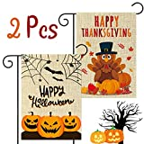 WATINC 2Pcs Happy Halloween Thanksgiving Garden Flag Scary Pumpkins Spooky Bats Lovely Turkey Harvest Fall Decorations Double Sided Burlap House Flags for Home Decor Indoor Outdoor 12.4 x 18.3 Inch