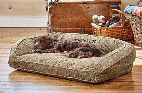 Orvis Deep Dish Dog Bed With Quilted Sleep Surface/Large Dogs Up To 60-120 Lbs, Brown Tweed
