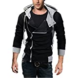 Product review for DJT Men's Oblique Zipper Hoodie Casual Top Coat Slim Fit Jacket