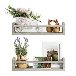 NEX Nursery Kids Bookshelf Floating Ledge Photo Display Shelves, Rustic Wood Wall Shelf, 2 Pack