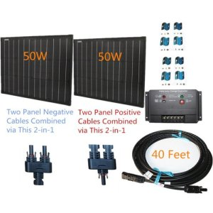 100w 100 Watt Two 50w SuperBlack Solar Panels Plug-n-Power Space Flex Kit for 12v Off Grid Battery – next day from U.S.