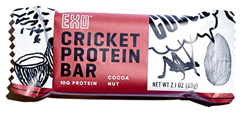 Exo Cricket 10g Protein, Paleo Friendly, Gluten-free, High Fiber, Dairy Free Energy Bars, 12 Count (Cocoa Nut)