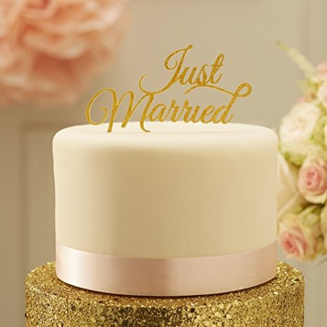 Decorazione per torta Just Married colore oro