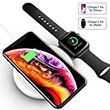 2 in 1 Wireless Charger Fatwaior Wireless Charging Station Compatible for iPhone and Apple Watch 10W Wireless Charging Pad Compatible for iWatch 1/2/3/4 iPhone Xs Max/XR/X//8 and More [No AC Adapter]
