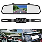 LeeKooLuu Reverse/Rear View Camera and Mirror Monitor Kit Only wire Single Power Rear view/Full time view Optional for Car Truck With 7 LED Night Vision WaterProof Grid Lines