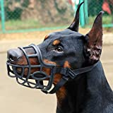 KITAINE Dog Muzzle, Soft Breathable Rubber Basket Muzzle for Dogs Small Medium Large Dogs Muzzle to Stop Biting Chewing Barking, Lightweight Adjustable Muzzle Allow Dog Drinking Panting (M)