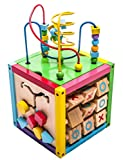 MMP Living 6-in-1 Play Cube Activity Center - Wood, 8' - 6 Sided Including Counting, Gears, Abacus, tic tac Toe, Block Track and 3 Different Bead Play Options