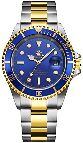 Fanmis Blue Dial Ceramic Bezel Sapphire Glass Luminous Quartz Silver Gold Two Tone Stainless Steel Watch