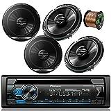 Pioneer DEH-S4100BT Car Bluetooth Radio USB AUX CD Player Receiver - Bundle Combo with 4X Pioneer TSG1620F 6.5' 300W 2-Way Black Car Coaxial Audio Speakers + Enrock 50 Ft 16 Gauge Speaker Wire