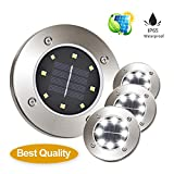 one into Solar Ground Lights Decoration Lights Garden Pathway Outdoor In-Ground Lights Disk Lights LED Outdoor Lighting As Seen On TV Pack 4 Decoration (White)