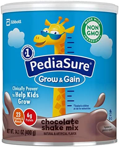 PediaSure Grow and Gain Non-GMO and Gluten-Free Shake Mix Powder, Nutritional Shake For Kids, With Protein, Probiotics, DHA, Antioxidants, and Vitamins & Minerals, Chocolate, 14.1 oz, 3 Count 1