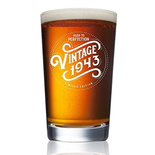 1943 75th Birthday Gifts For Men And Women Beer Glass 16 Oz Funny Vintage Pint Glasses Decorations Party Supplies 75 Gift Ideas Dad Mom