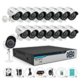 TECBOX 16 Channel 720P AHD Home Security Camera System DVR Recorder 500GB Hard Drive Preinstalled with 16 HD 1.3MP Waterproof Night vision Indoor/Outdoor CCTV surveillance Camera