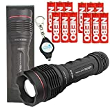NEBO Redline Blast 1400 Lumen LED Flashlight with 12 Nebo AA Batteries and Lumintrail Keychain Light