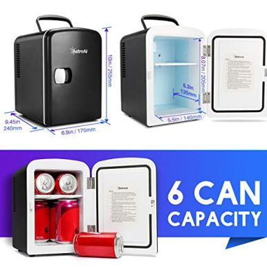 AstroAI-Mini-Fridge-4-Liter6-Can-ACDC-Portable-Thermoelectric-Cooler-and-Warmer-for-Skincare-Foods-Medications-Home-and-Travel-Black