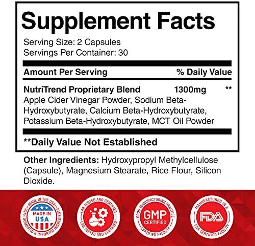 Keto Pills with Apple Cider Vinegar & MCT Oil, BHB Weight Loss Supplement, Detox Support and Immune Health, Manage Cravings & Improve Focus, Boost Energy & Metabolism - 30 Day Supply by NutriTrend 7